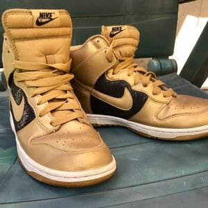 Nike High Tops Gold with Black Glitter